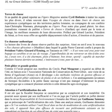 lettre dinformation gastonphoebus 10 2018 Terres de chasse 1