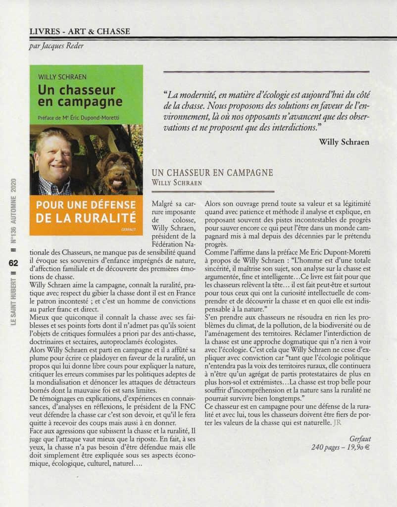 article W. Schraen - Un chasseur en campagne - Le Saint Hubert n136 automne 2020